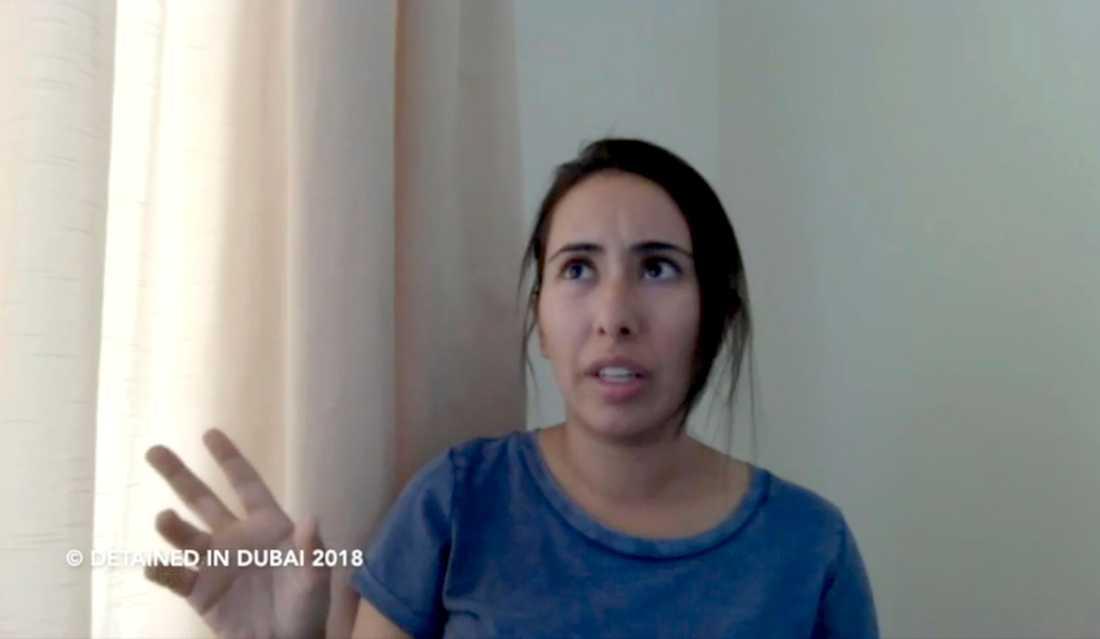 Latifa bint Moammed Al Maktum, i en skärmdump från det filmklipp hon lade upp på Youtube inför sitt flyktförsök. Arkivbild.