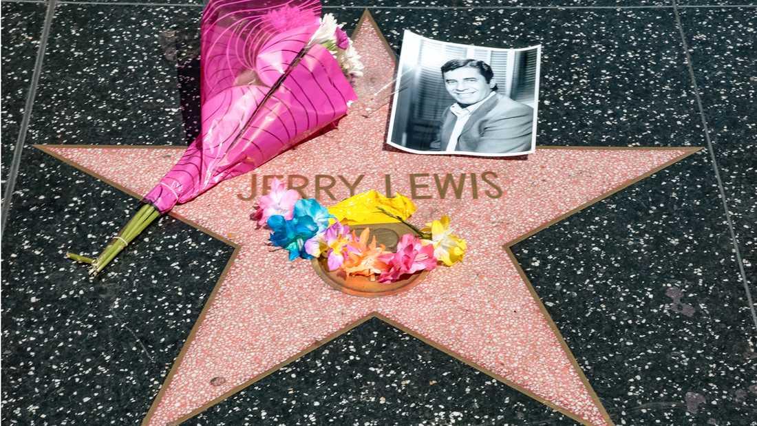 Jerry Lewis stjärna på Hollywood walk of fame i Los Angeles.