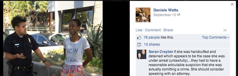 Danièle Watts lade upp en bild på Facebook, där hon gråter iförd handfängsel.
