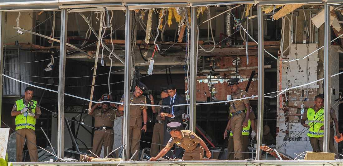 Hotell Shangri-la i Colombo efter bomben på det hotellet.