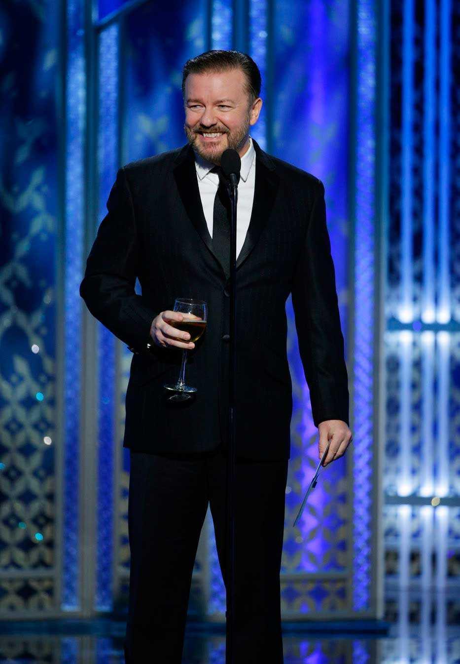 Ricky Gervais på Golden Globe 2015.