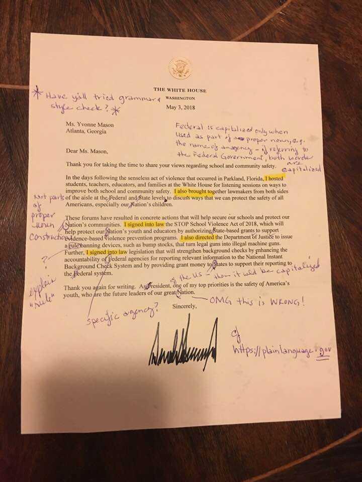 Hon fick ett brev signerat presidenten – fylld med en massa språkfel.