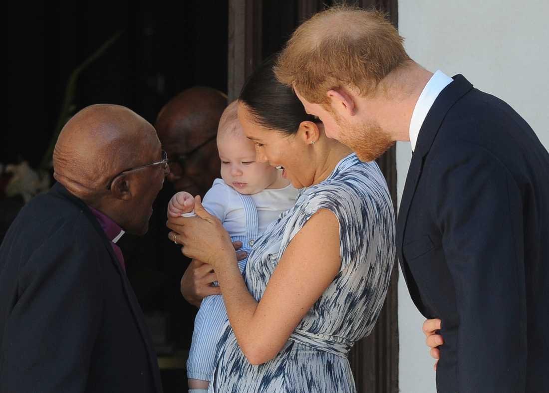 Det brittiska prinsparet med sonen Archie. Arkivbild.