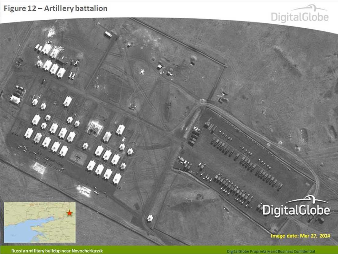 Den här bilden sägs visa ryskt artilleri.
