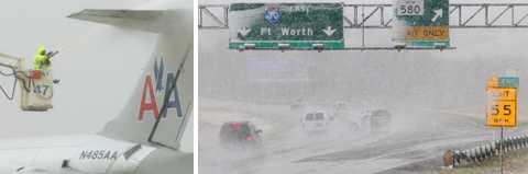 Snöstormen som dragit in över USA täker två tredjedelar av landets yta. I Fort Worth, Texas, har de flesta flygen tvingats ställa in sina avgångar.
