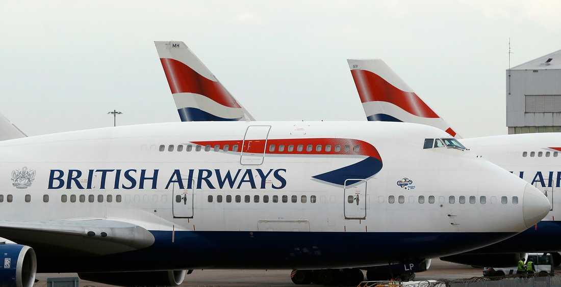 Hundratusentals betalkortsuppgifter kan ha hamnat på vift sedan flygbolaget British Airways utsatts för hackare. Arkivbild.