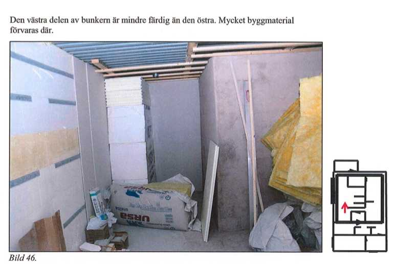Del av bunkern som inte är färdigbyggd.