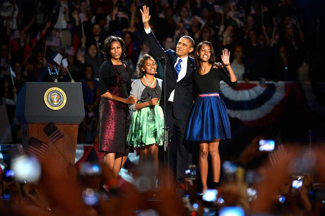 Barack Obama med sin familj.