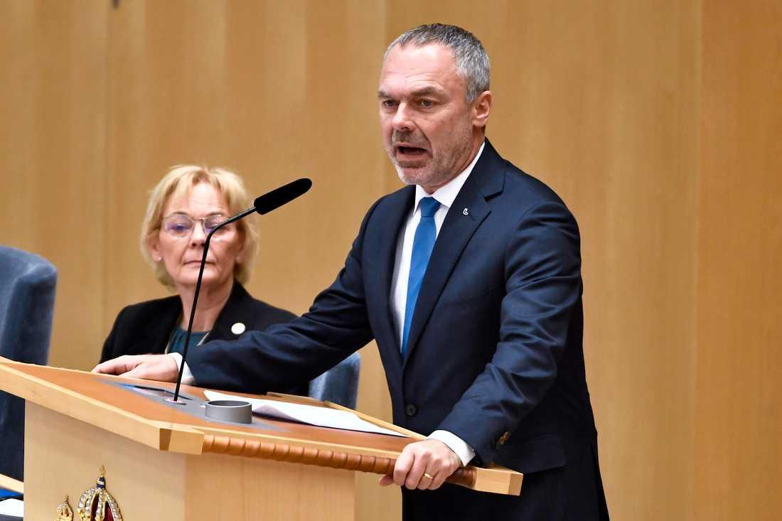 Liberalernas partiledare Jan Björklund (L) under partiledardebatt i riksdagen i Stockholm.