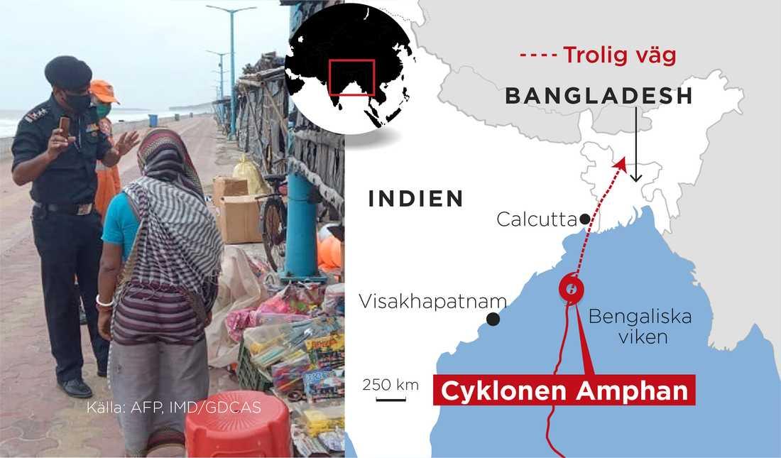Den kraftig cyklon då den var på väg mot Indien och Bangladesh.