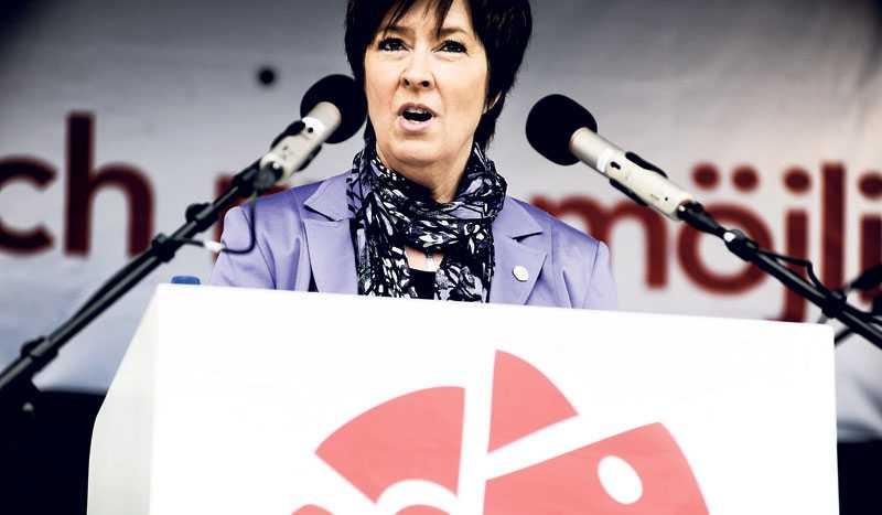 HYLLAD FÖR SITT TAL I sitt 1 maj-tal i Stockholm avslöjade Mona Sahlin hur delar av de kostsamma vallöftena ska betalas: Om de rödgröna vinner höjs skatten för alla löntagare. Efter talet skanderade den entusiastiska publiken hennes namn.