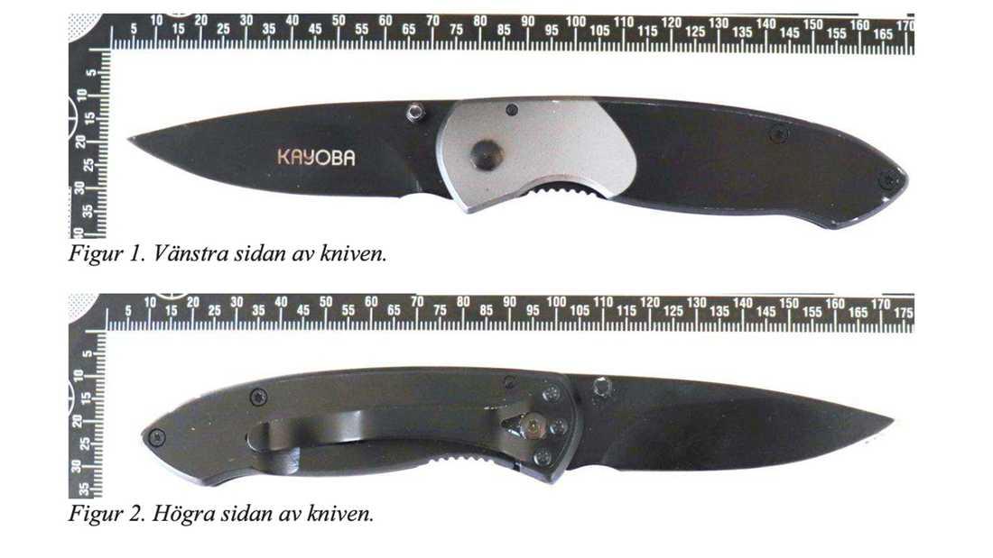 Kniven var av märket Kayoba och påträffades i utfällt läge på asfalten i närheten av attacken vid Hälla parkering i Västerås. Bild från förundersökningen.