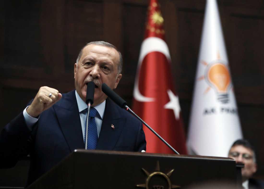 Turkiets president Recep Tayyip Erdogan talade i parlamentet på onsdagen.
