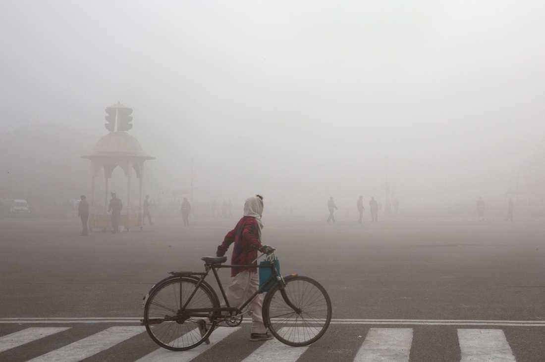 Luftföroreningarna i Delhi nådde under fredagen rekordhöga nivåer. Bilden är från januari i år. Arkivbild.