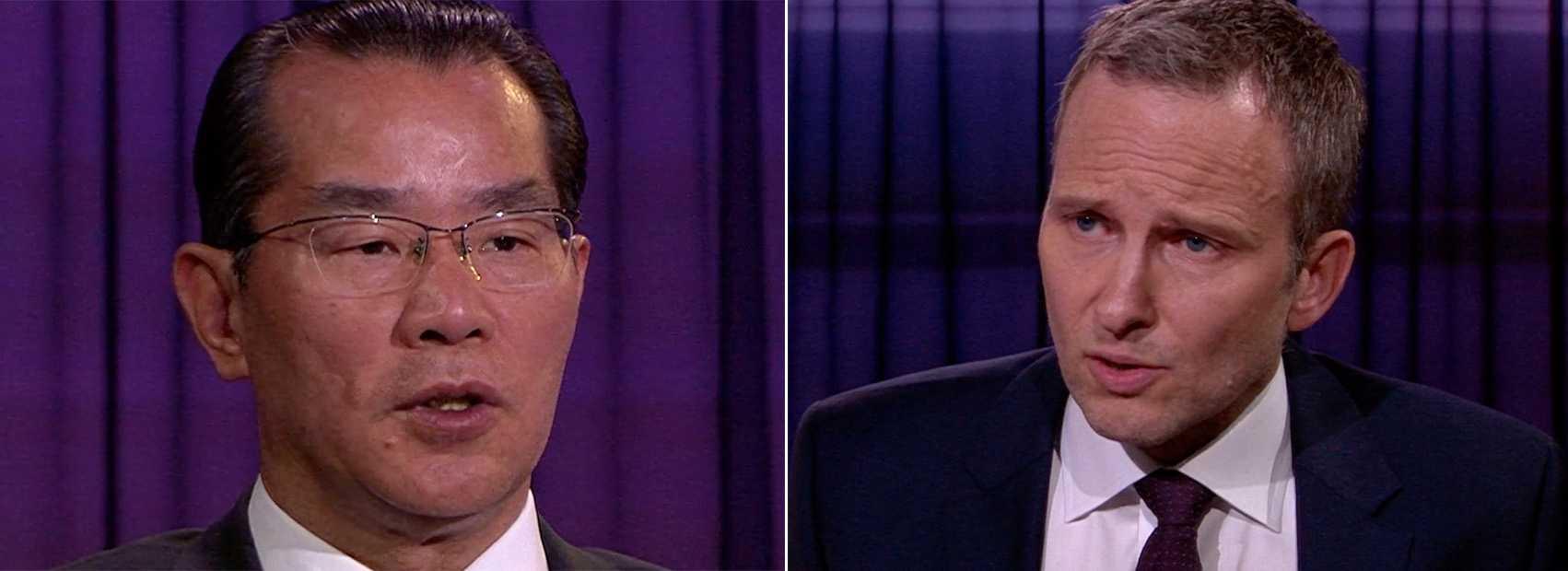 Kinas ambassadör Gui Congyou och Anders Holmberg.