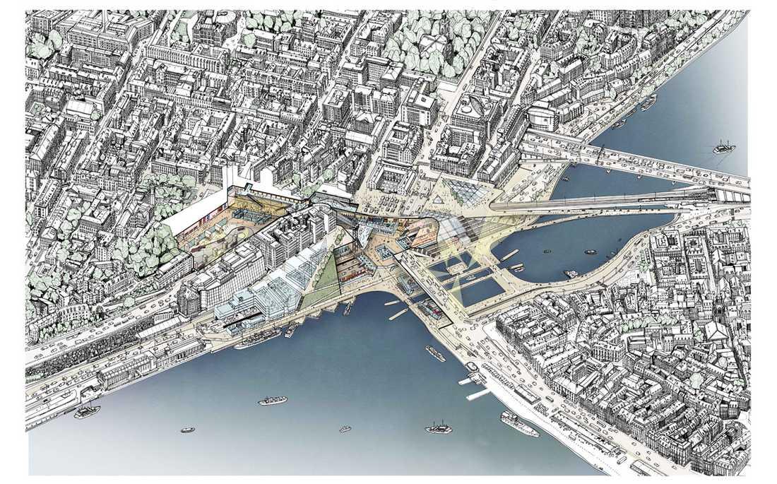 Skiss över hur framtidens Slussen just nu planeras se ut Gamla stan nere till höger, Södermalm uppe till vänster.