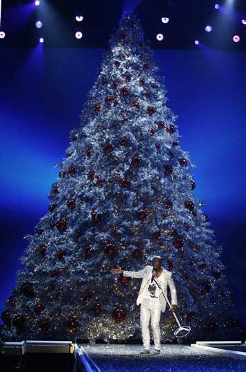 Seal uppträdde framför en gigantisk julgran.
