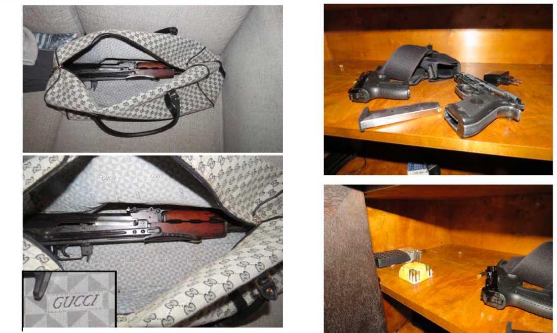Automatvapen som förvarades i en väska hemma hos en av de åtalade. Skulle enligt åklagaren användas för ett nytt mord i Göteborg.