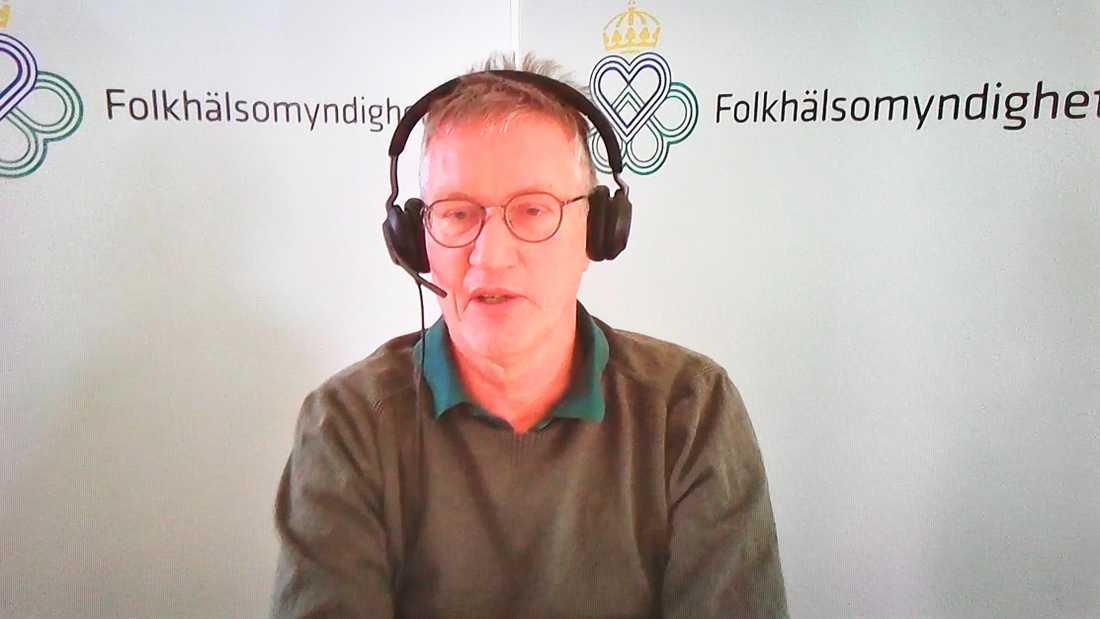 Anders Tegnell, statsepidemiolog, Folkhälsomyndigheten, deltar på dagens myndighetsgemensamma digitala pressträff om coronaläget. Arkivbild.