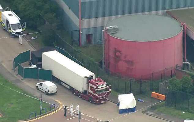 Flygbild över området där lastbilen hittats..