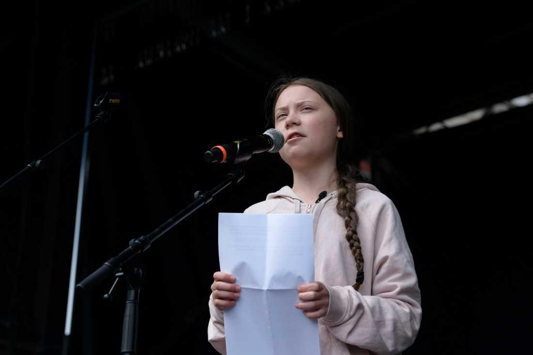 Greta Thunberg under ett tal i Köpenhamn i våras.