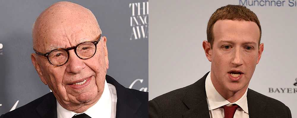 Rupert Murdoch, mannen bakom News Corp, och Facebooks grundare Mark Zuckerberg.