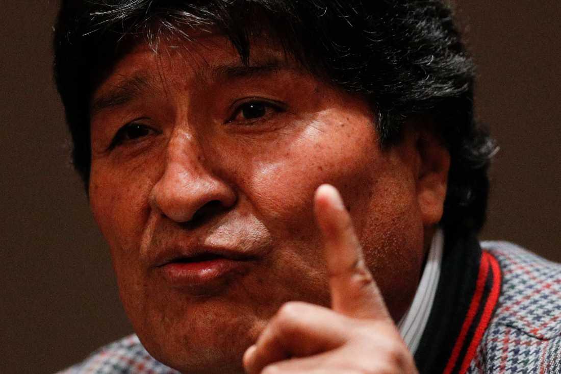 Evo Morales vid en presskonferens i Mexico City på onsdagen.