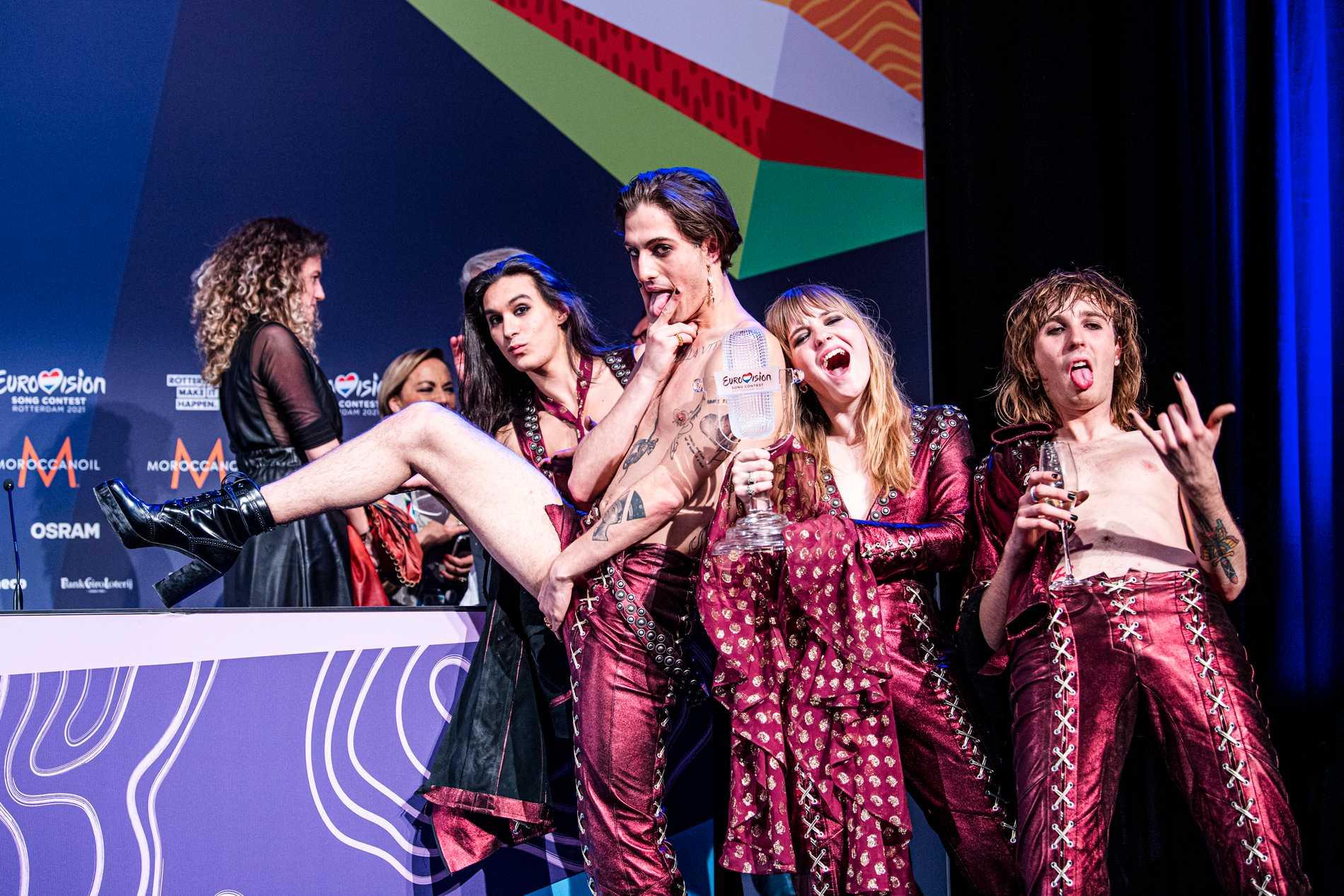 Måneskin på presskonferensen efter Eurovision-finalen.