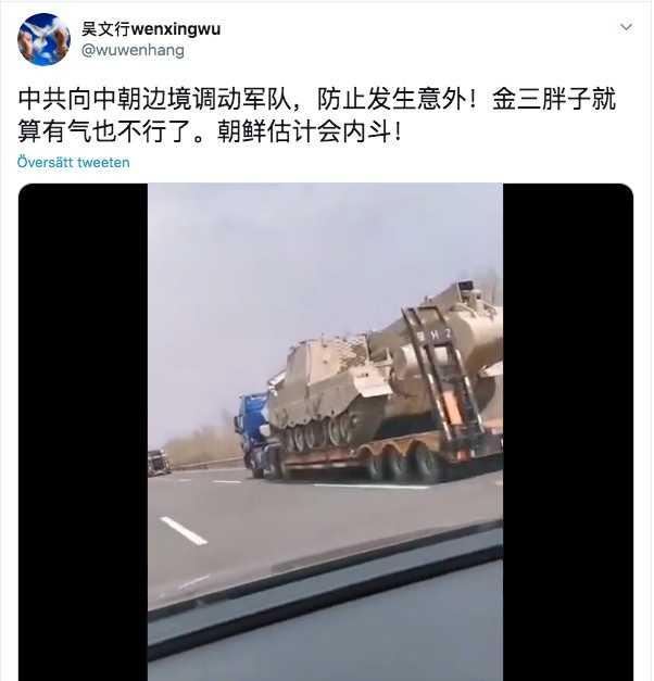 På kinesiska sociala medier cirkulerar bilder och filmer som påstås visa hur Kina flyttar trupper till den nordkoreanska gränsen. Uppgifterna är dock inte bekräftade.