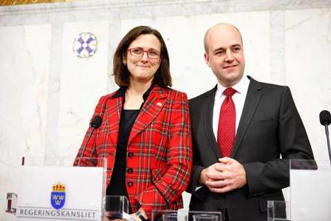 Cecilia Malmström, ny EU-kommissionär, och statsminister Fredrik Reinfeldt.