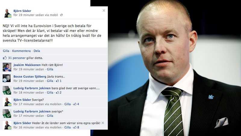 Sverigedemokraternas partisekreterare Björn Söder och den Facebooktråd han sedan tog bort.