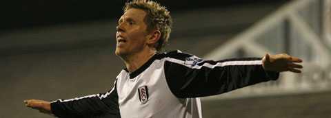 David Elm jublar efter karriärens första Premier League-mål.