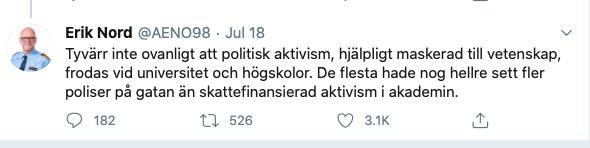 Erik Nord, polischef i Göteborg, kallade forskarna för aktivister.