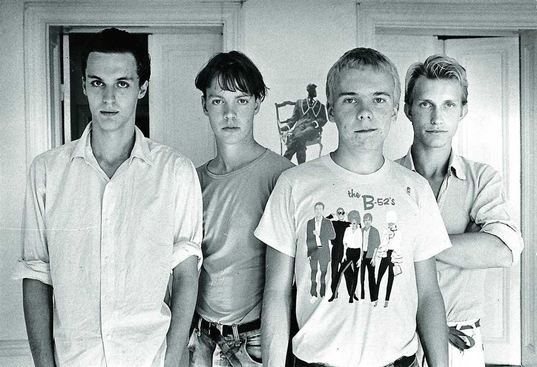 1980. Olle Ljungström var med i den stilbildande gruppen Reeperbahn. Från vänster: Olle Ljungström, Eddie Sjöberg, Peter Korhonen och Dan Sundquist.
