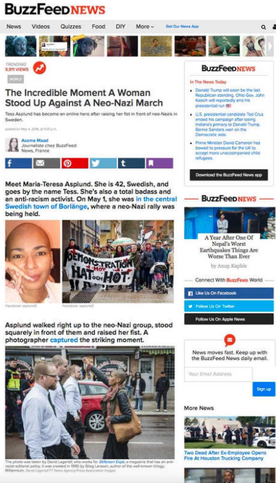 """Amerikanska Buzzfeed: """"Det otroliga ögonblicket då en kvinna stod upp emot en nynazistmarsch."""""""