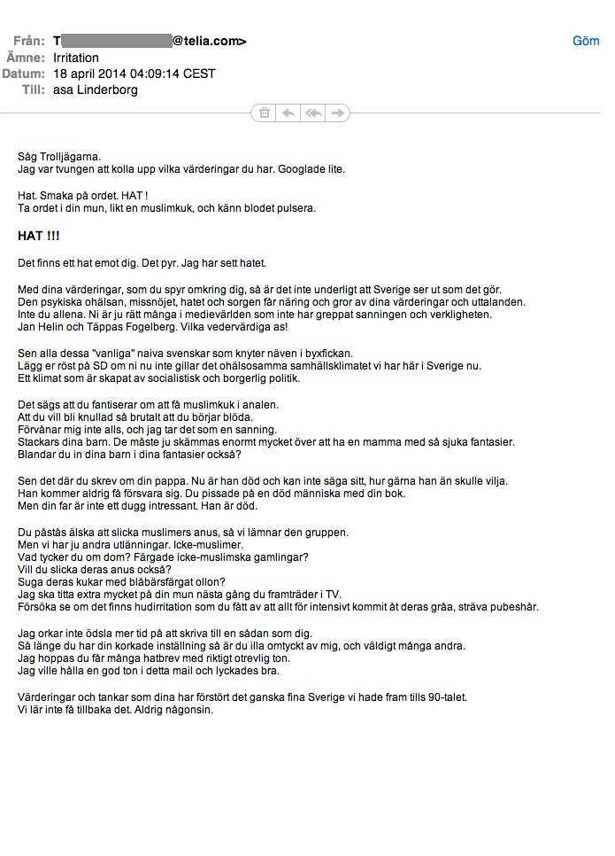 Läsarmail till Åsa Linderborg, 18 april. Klicka för att göra bilden större
