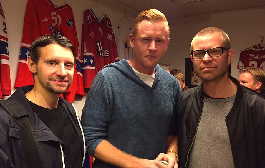 Kristofer Ottosson, Daniel Fernholm och Björn Nord på plats i Huddinge.
