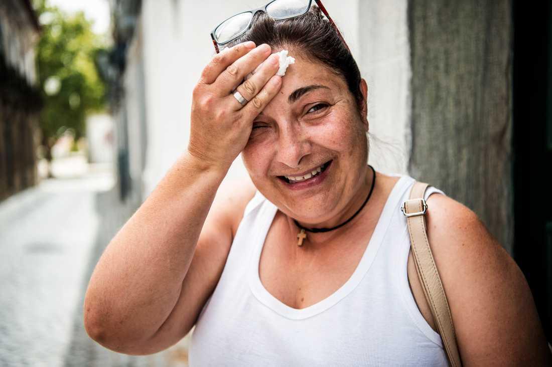 Värmen har slagit till i staden Beja i Portugal. Fátima Rodrigues, 49 år.