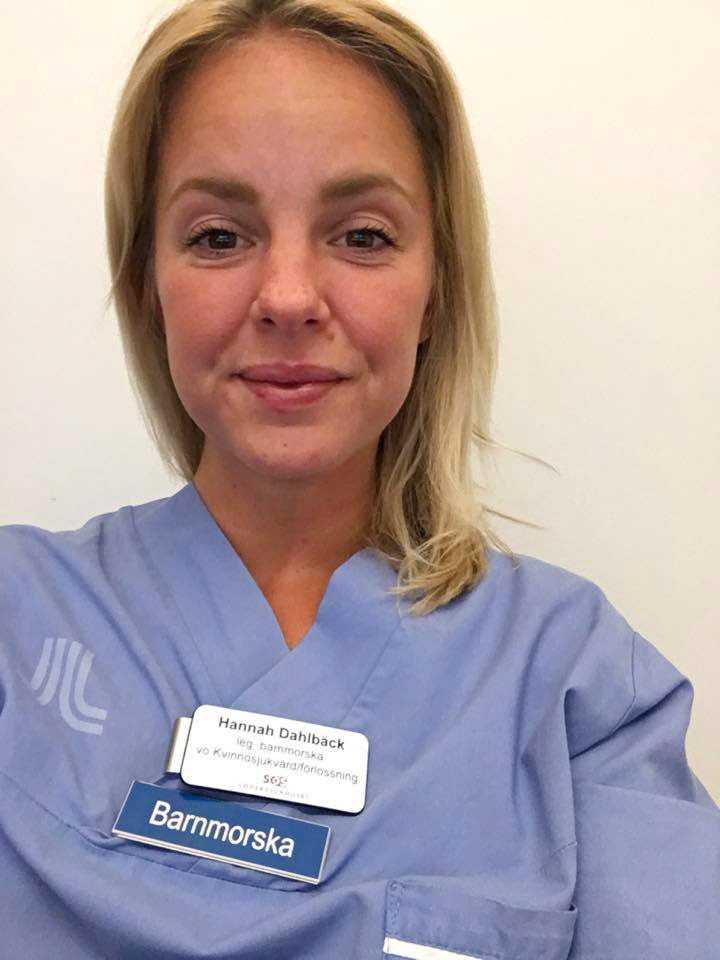 Hannah Dahlbäck, 35, jobbar som barnmorska i Stockholm.