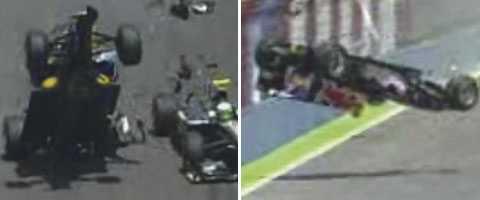 Webber kraschade ordentligt i Valencia, men klarade sig oskadd.