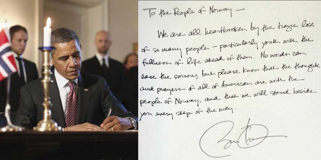 USA:s president Barack Obama skrev under den norska kondoleansboken vid norska ambassaden i Washington.