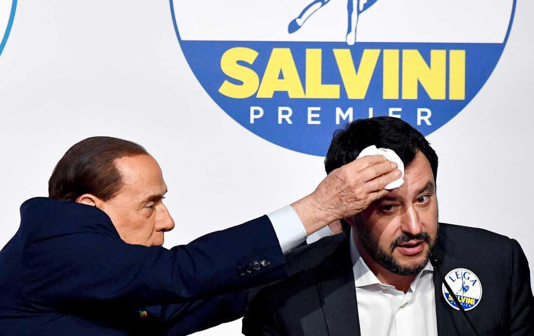 Högerextrema Legas partiledare Salvini får pannan baddad av f.d. premiärminister Berlusconi. Legas försök att bilda regering med populistiska femstjärnerörelsen misslyckades igår.