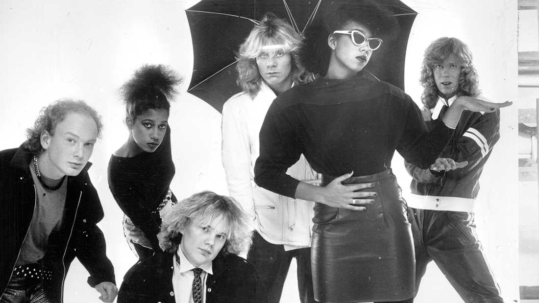 Gruppen Freestyle 1982.  Fr.v. Joakim Hagleitner, Diane Corinne Söderholm, , Tommy Ekman, Christer Sandelin, Gigi Hamilton och Anders Uddberg.