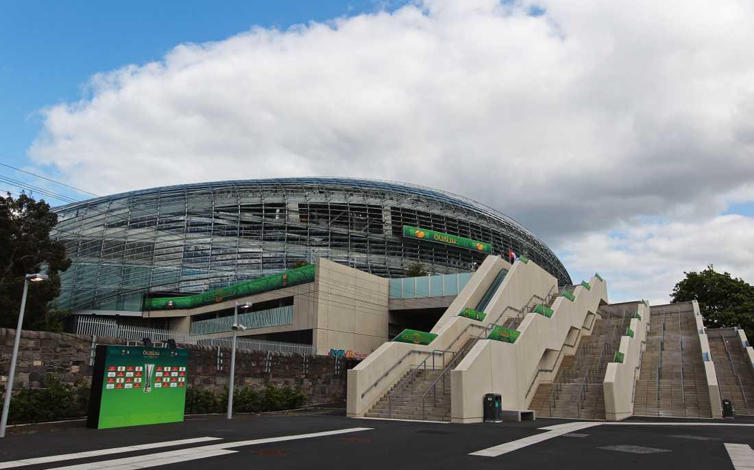Här, på Aviva Stadium i Dublin, är tanken att Sverige ska spela två av sina EM-matcher i sommar. Men nu kan irländarna bli av med sitt värdskap.