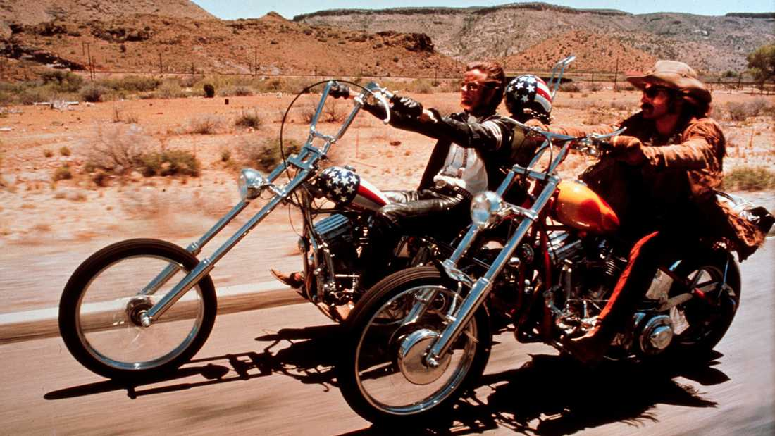 """Peter Fonda (till vänster) och Dennis Hopper i """"Easy rider""""."""