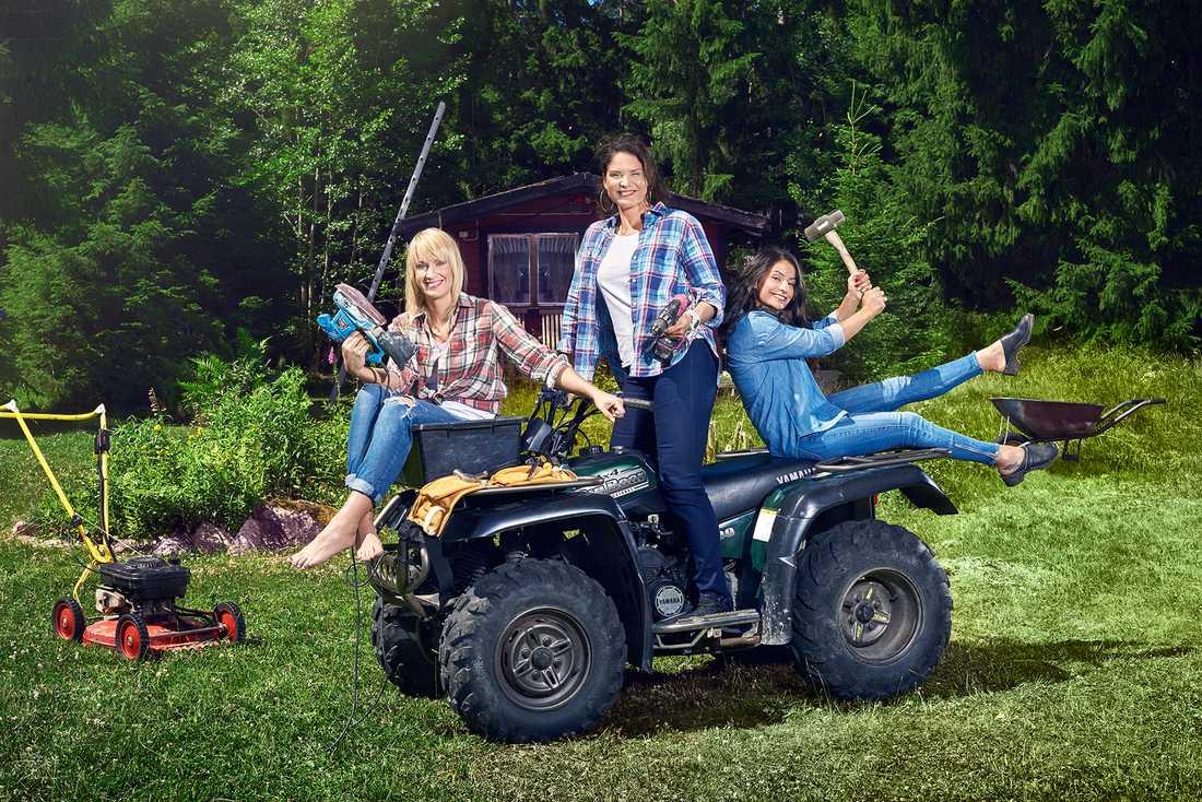 """Filippa, Johanna och Nahrin söker hantverkshjärta i """"Händig man sökes"""" i TV3 i februari."""