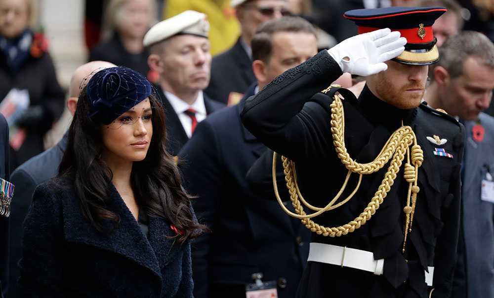 Prins Harry och hertiginnan Meghan vid Remembrance Day förra året då paret befann sig i London.