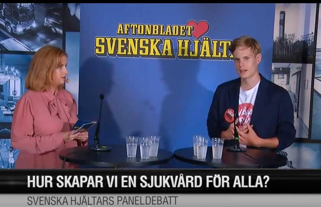 Anton Lindvall medverkade i Svenska hjältars panelsamtal i Almedalen 2019.