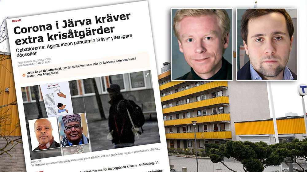 Vårt besked är tydligt, ingen Järvabo ska känna sig orolig för att bli smittad för att man bor trångt, skriver Ole-Jörgen Persson, ordförande Spånga-Tensta stadsdelsnämnd (M) och Benjamin Dousa, ordförande Rinkeby-Kista stadsdelsnämnd (M).