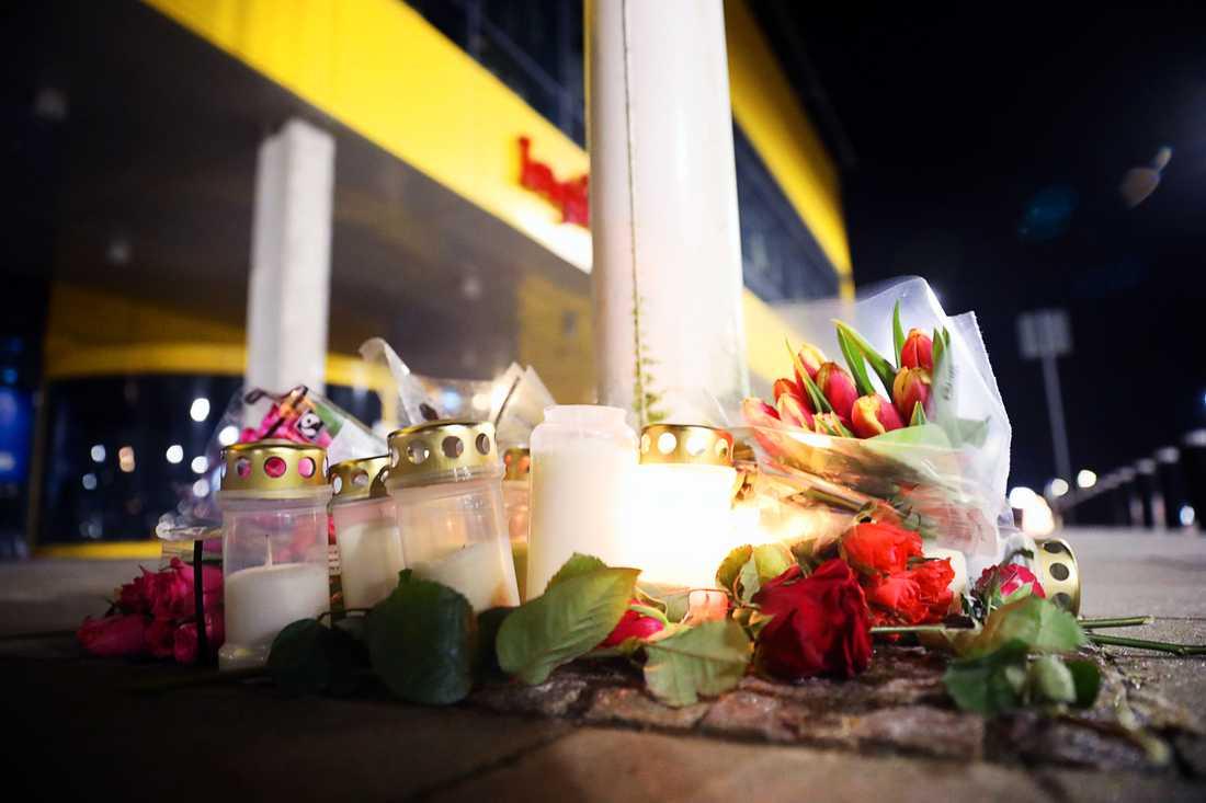 Blommor utanför Ikeas varuhus i Älmhult.